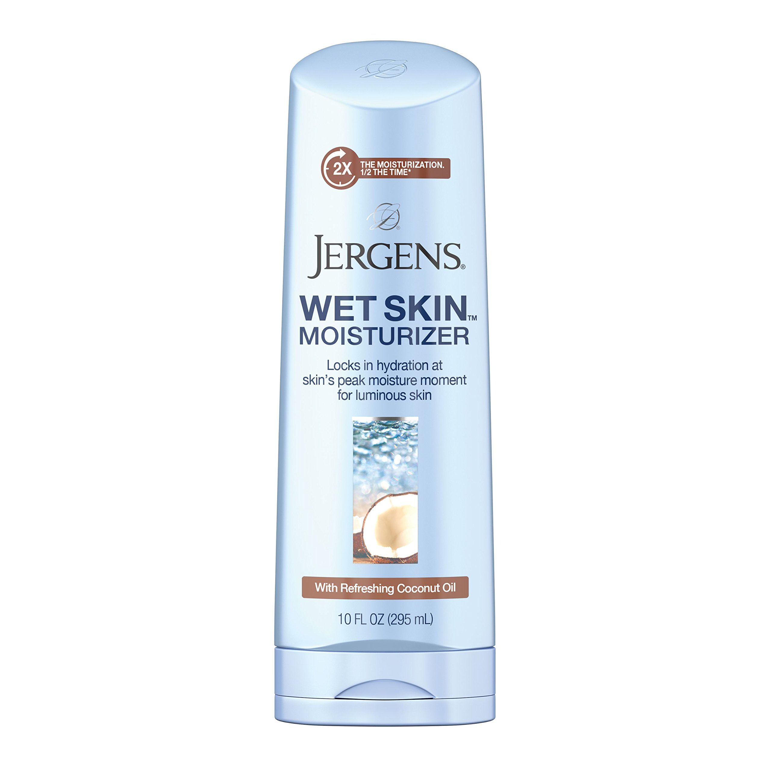 Jergens Wet Skin Body Moisturizer with Refreshing Coconut Oil, 10 Ounces