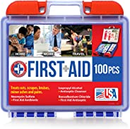 Be Smart Get Prepared 10HBC01082 100Piece First Aid Kit, Clean, Treat & Protect Most Injuries with The Kit That is Great for