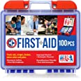 Be Smart Get Prepared 100 Piece First Aid Kit: Clean, Treat, Protect Minor Cuts, Scrapes. Home, Office, Car, School, Business