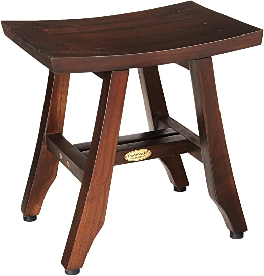 Teak Shower Stool Suitable for Both Indoor and Outdoor 20 Sturdy Waterproof Stool with Shelf Foot Stool /& Shower Shelf for Your Bathroom Teak Shower Bench Assembly Required Nander Stool