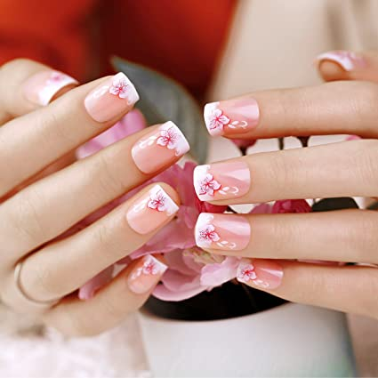 ArtPlus Uñas postizas 24pcs Sakura Glittering False Nails Premium Pack Buy 3 Get 1 Free French