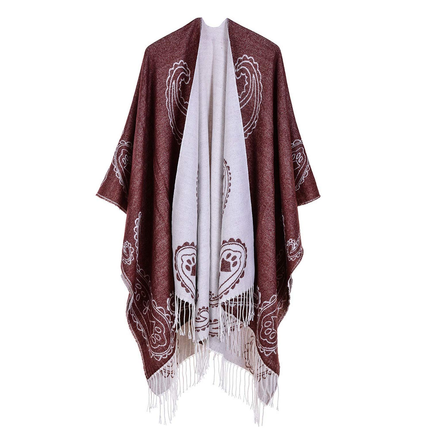 Coffee Luxury winter pashmina scarf shaw cashew ethnic wind shawl Double sided print cape cashmere tassel poncho scarves,Wine Red