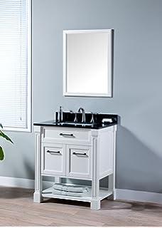 MAYKKE Delilah 30 Inch Bathroom Vanity Set In Birch Wood White Finish,  Single White Bathroom