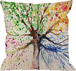 HGOD DESIGNS Colorful Tree Pillow Case,Four Season Tree of Life Cotton Linen Cushion Cover Square Standard Home Decorative for Men/Women 18x18 inch Yellow Green Pink Blue