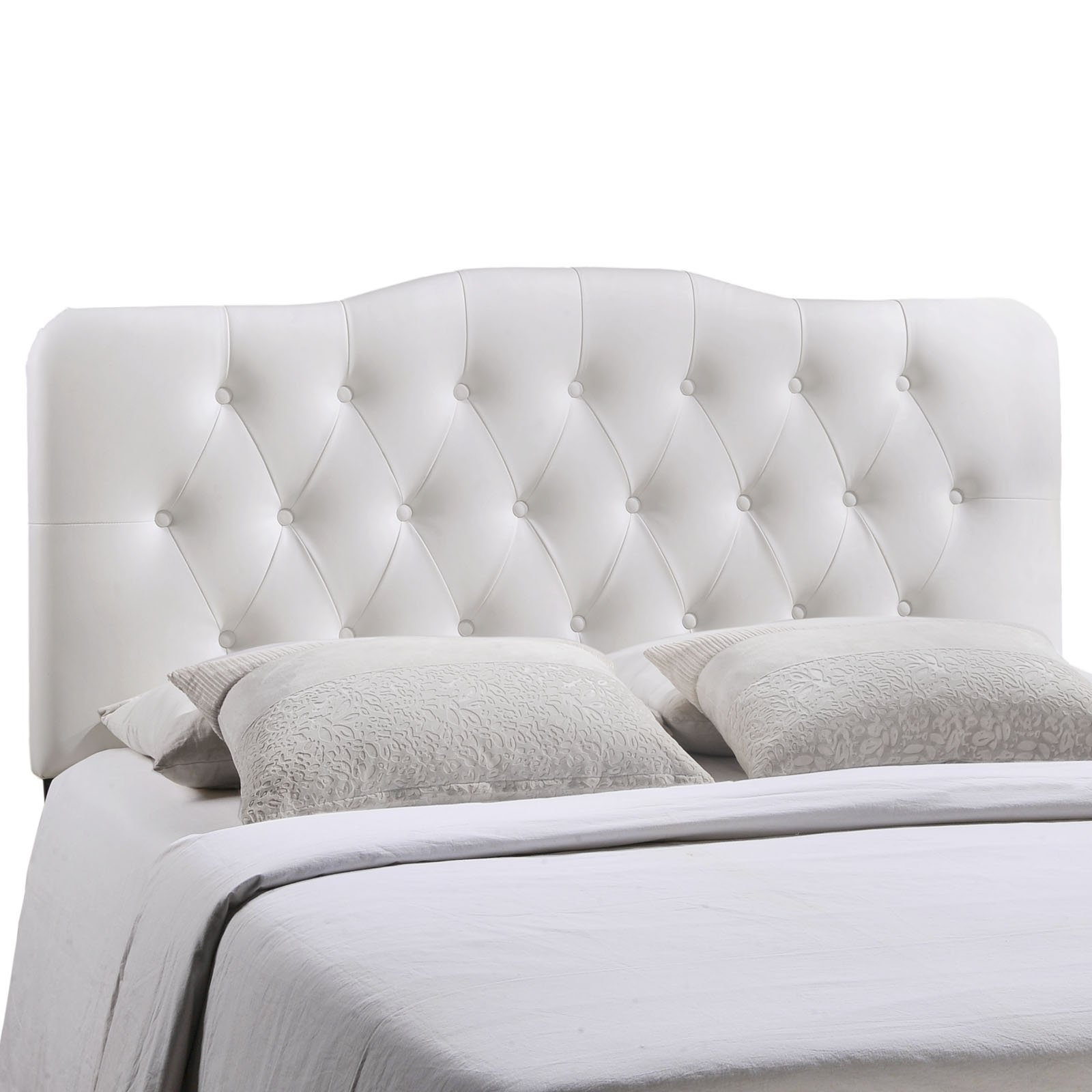Modway Annabel Tufted Button Faux Leather Upholstered Queen Headboard in White
