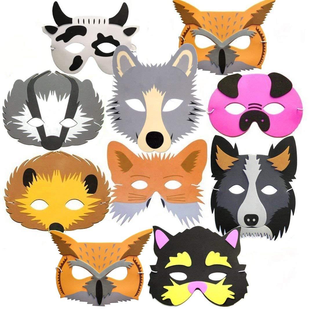 Blue Frog Toys 10 masques d'animaux en mousse pour enfants Thème forêt et ferme product image