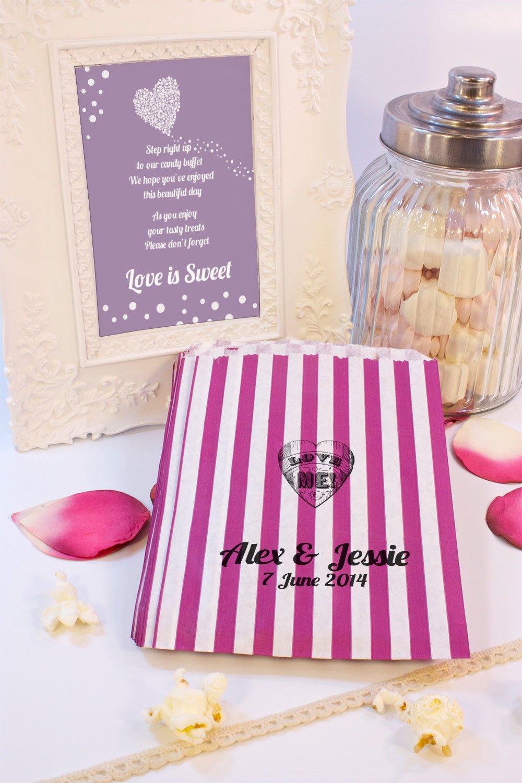 Personalizado boda bolsas de Sweet Love Me corazón Candy carro favor de la boda confeti Engagement: Amazon.es: Hogar