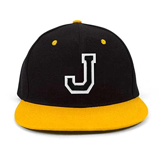 Varsity Letter J Initial Solid Flat Bill Embroidered Snapback Cap at ... c1f1b8744c1