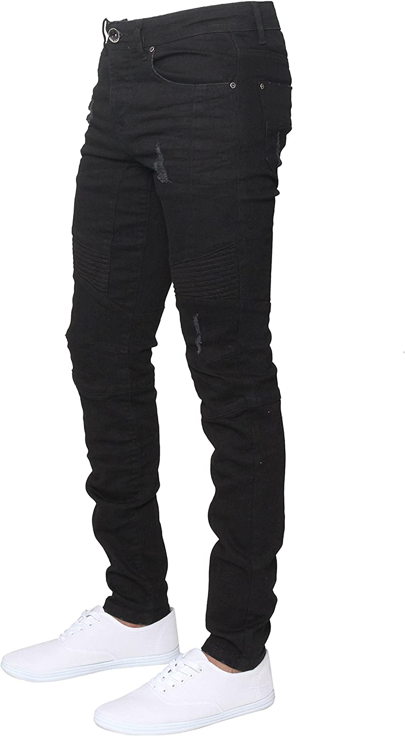Men Enzo EZ376 Super Skinny Fit Stretch Ripped Style Denim Jeans Trousers Pants