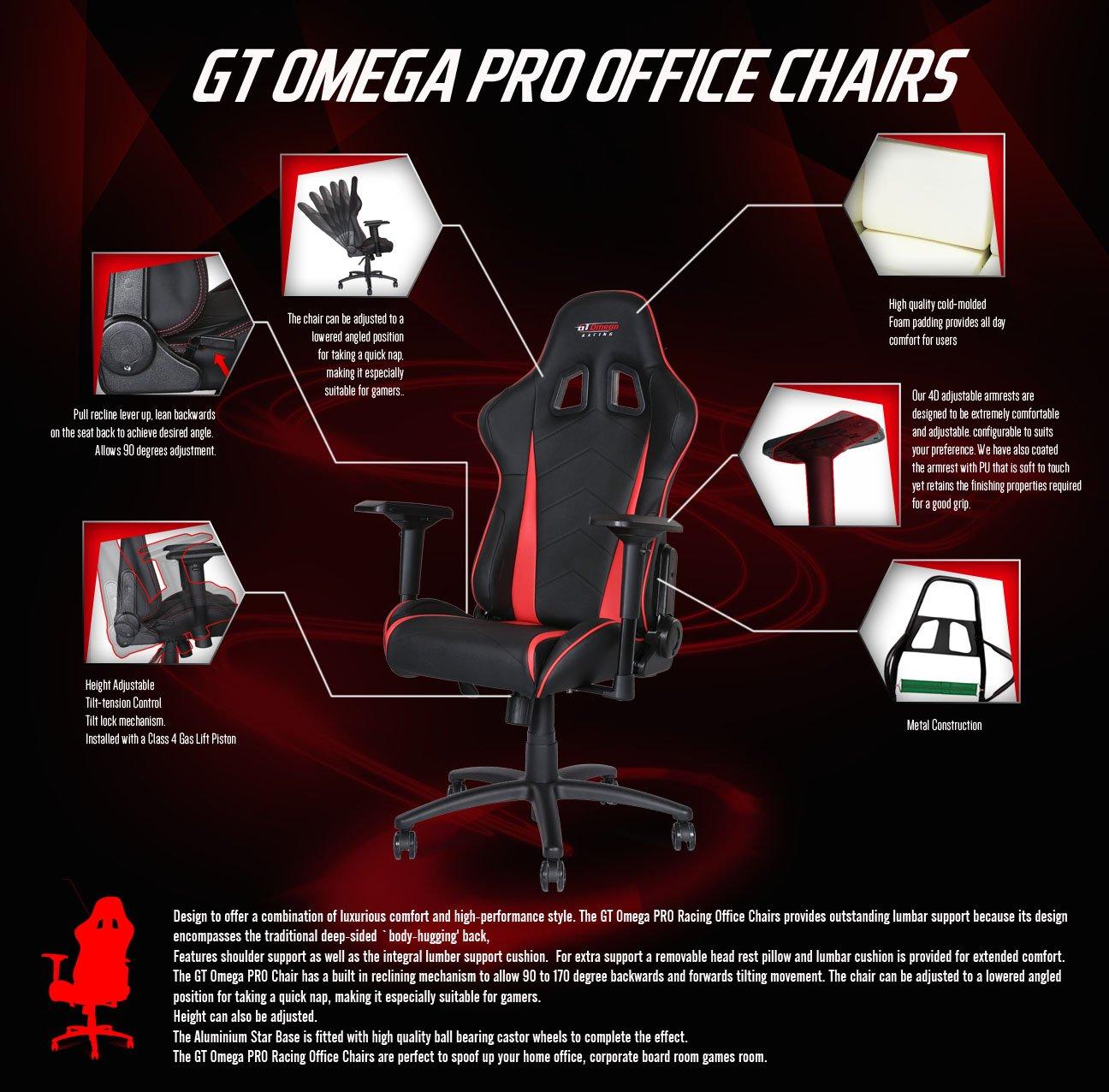 Silla de oficina, de GT OMEGA, Pro Racing, de piel, color negro y rosa: Amazon.es: Hogar