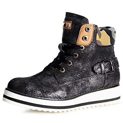 topschuhe24 1102 Damen Stiefeletten Boots Derby, Farbe:Schwarz;Größe:37
