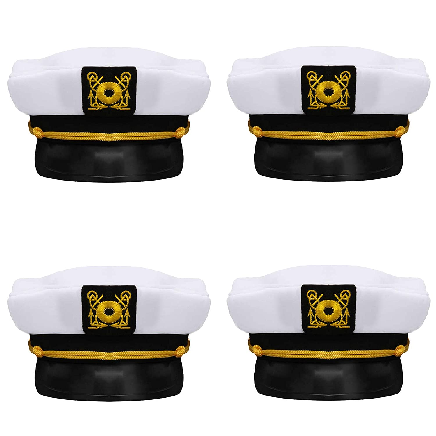 57591f5f94a78 Bottles N Bags Nautical Captain White Sailor Hat (4 Pack) Captain s Hats  are A Great Family Cruise Accessory for Men