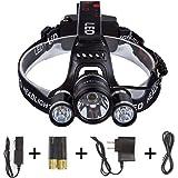 LIGHTESS 3*CREE XM-T6 LEDヘッドライトセット ハイパワー 6500ルーメンヘッドランプ 4点灯モード 防水 充電式 角度調整可 2本電池付