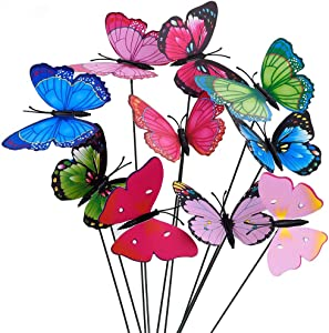 """OtooKing 50pcs Garden Butterfly Stakes,2.76"""" Width Waterproof Butterflies for Flower Plant Pot Butterfly Decorations Patio Decorations Outdoor Clearance Garden Decor Christmas Decorations for The Home"""