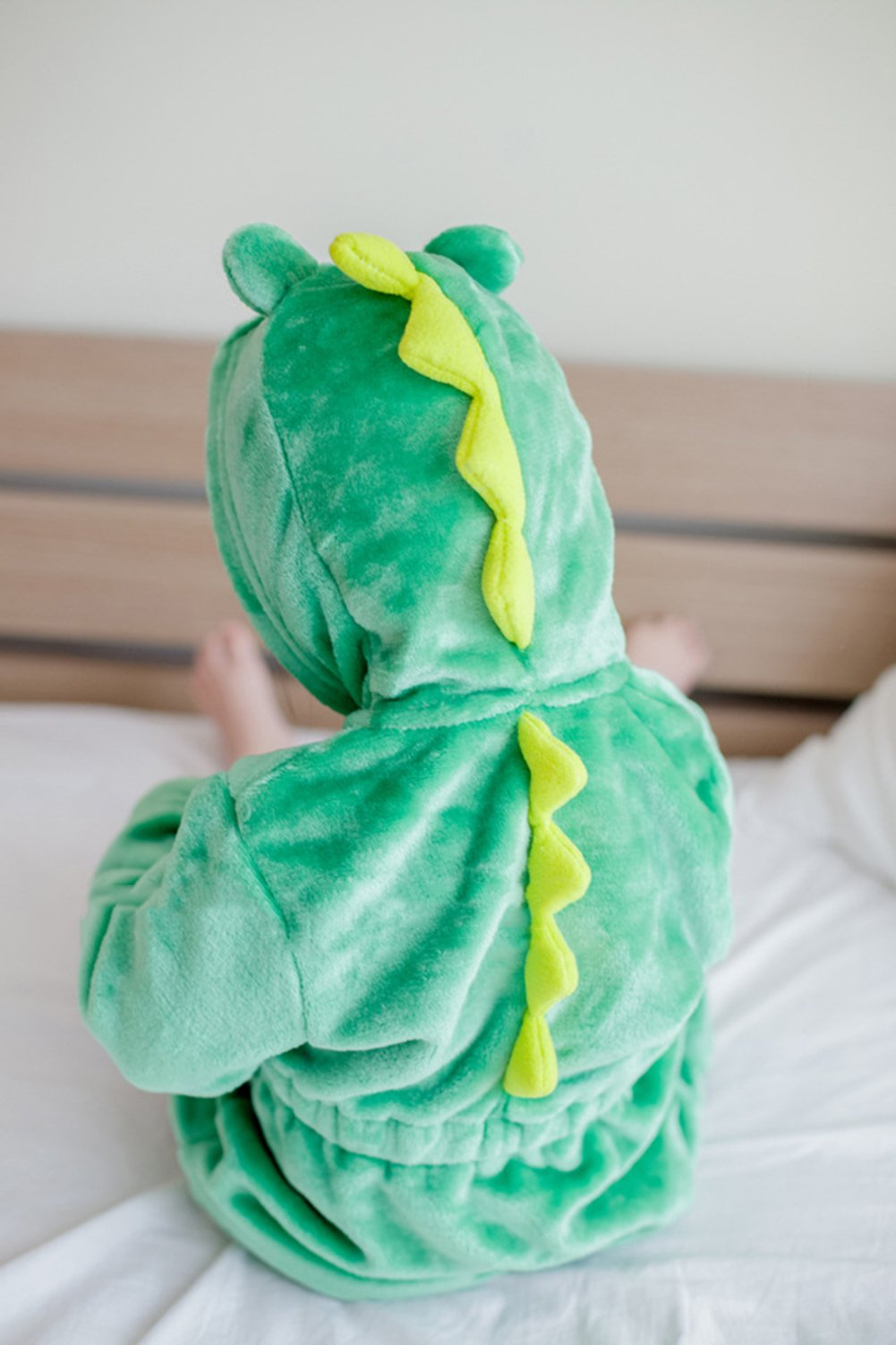 MIXMAX Kid Flannel Hooded Animal Design Bath Towel Terry Wrap Bathrobes Dinosaur (#130for 6-7 Year, Dinosaur)