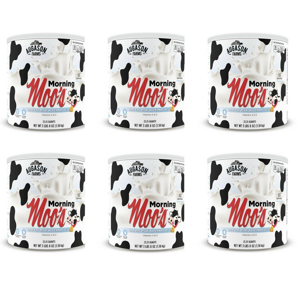 Augason Farms Morning Moo's Low Fat Milk Alternative 56 oz #10 Can, Pack of 6