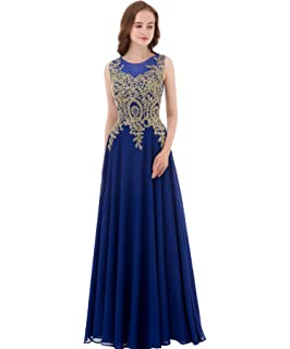 Kivary Gold Lace A Line Long Chiffon Women Formal Corset Prom Evening Dresses