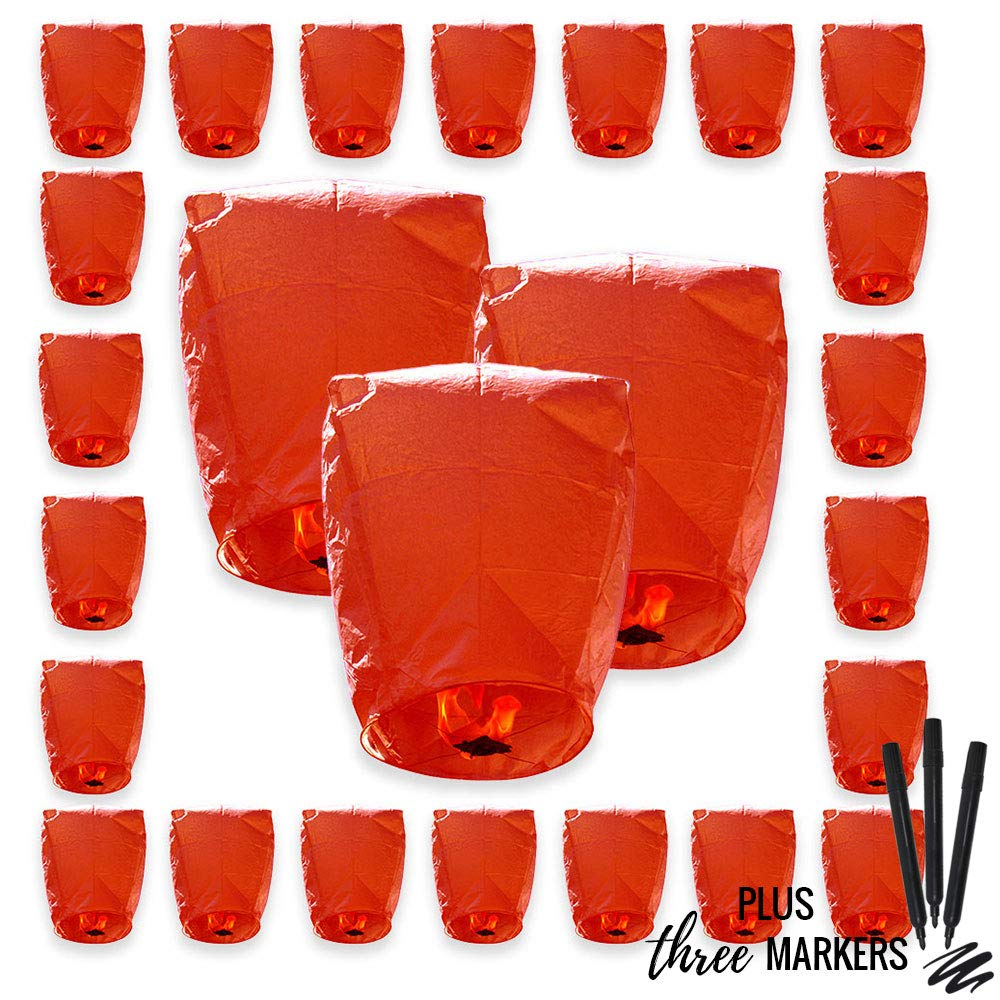 Just Artifacts 25pcs ECO Wire-Free Flying Chinese Sky Lanterns with Markres (Set of 25, Eclipse, Red) - 100% Biodegradable, Environmentally Friendly Lanterns! by Just Artifacts