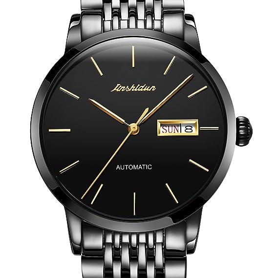 325a2d45f2ff jsdun reloj automático para hombre con esfera analógica de color negro y  correa de acero inoxidable  Amazon.es  Relojes