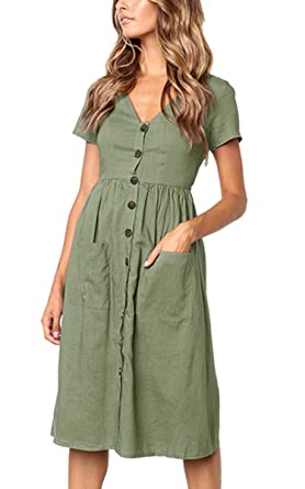 b5f3fc8fd88 Image Unavailable. Image not available for. Color  Aromelle Women s Dresses  V Neck Short Sleeve Button T Shirt Midi Dress with Pockets