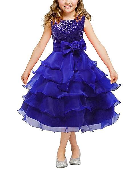 BYD Abiti da Bambine Ragazze Vestito Tutu Paillettes Principessa Abito con Bow da Matrimonio Banchetti Partito Fancy Dress