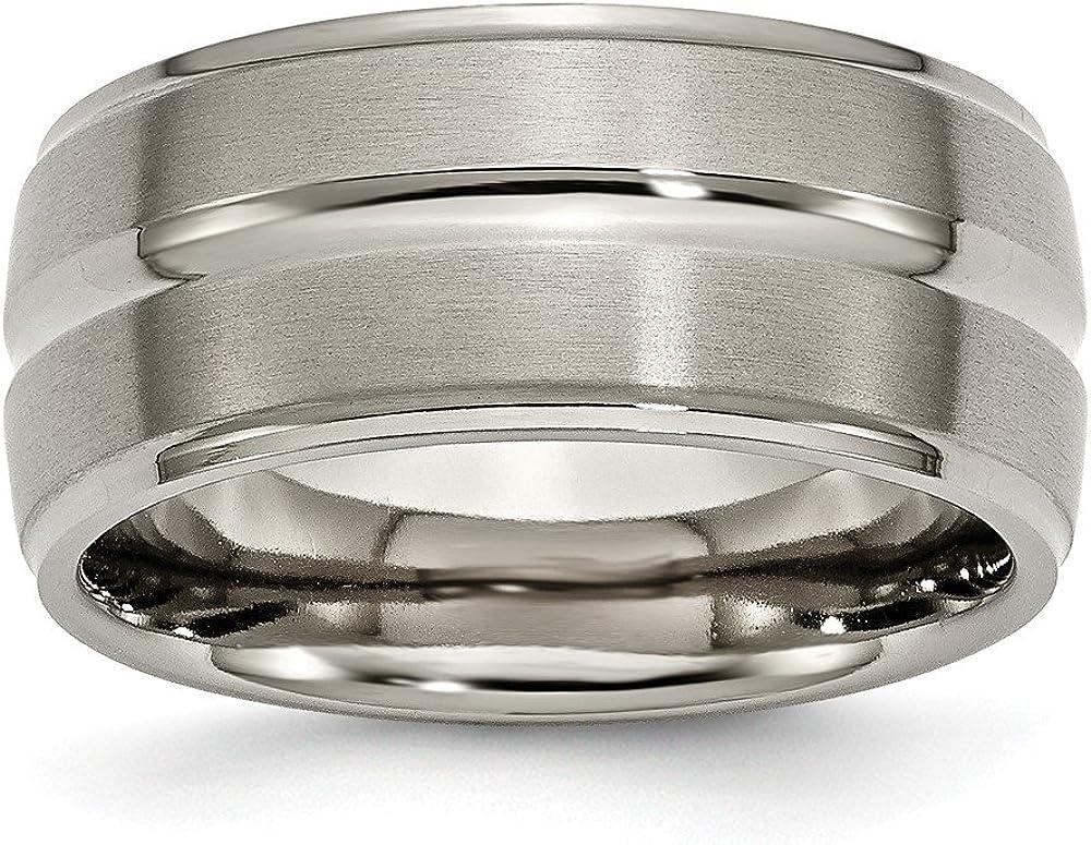 Jay Seiler Titanium Grooved Ridged Edge 10mm Brushed and Polished Band Size Titanium 12.5
