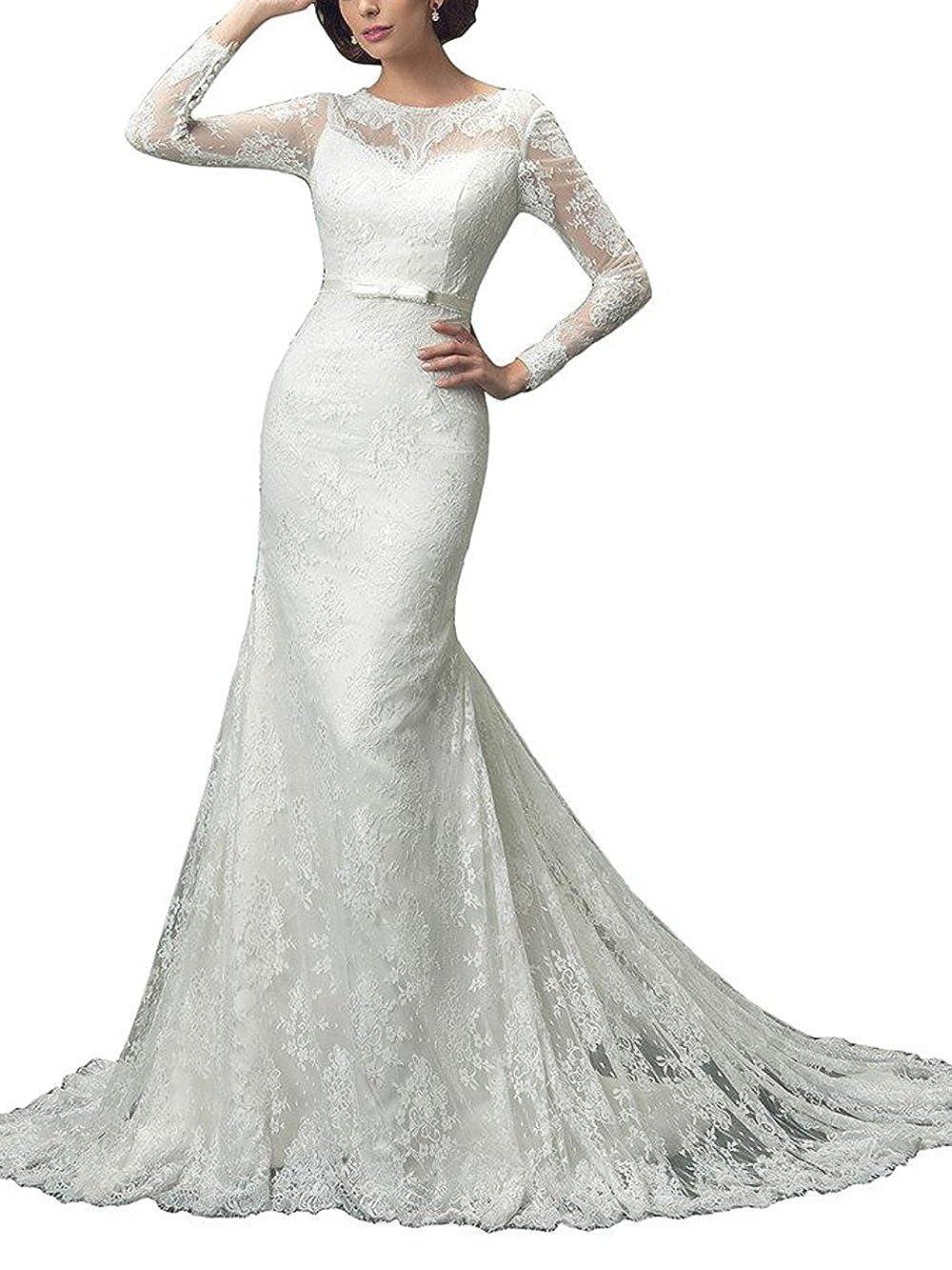 M Bridal Women's Illusion Long Sleeve Crew Neck Long Mermaid Bride Wedding Dress