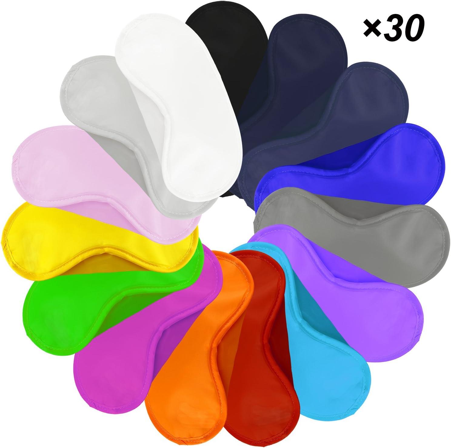 Lot de 30 masques color/és pour les yeux avec coussinet de nez et sangles /élastiques femmes confortables et l/égers pour enfants hommes 15 couleurs