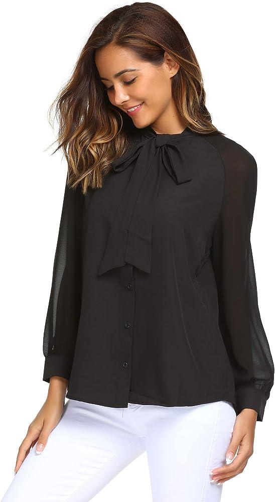 Parabler – Blusa de Mujer de Negocios, Gasa Elegante, Manga Larga, Camiseta con Lazo, Patchwork, Camiseta, Camisa Suelta Negro M: Amazon.es: Ropa y accesorios