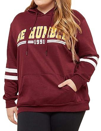 9ec52af0042 Amazon.com  ZJP Women Plus Size Long Sleeve BE Humble Letter PrintSport Hoodies  Sweatshirts  Clothing