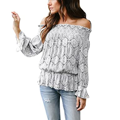 4d9fa6138a2ab5 HARRYSTORE Women Long Flare Sleeve Off Shoulder Loose Bohe Blouse Top T-Shirt  Tie Back