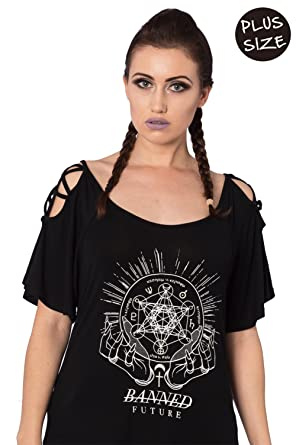 9377372748 Banned Conjure Plus Size Alternative Gothic Ladies Top - Black UK-18 at  Amazon Women s Clothing store