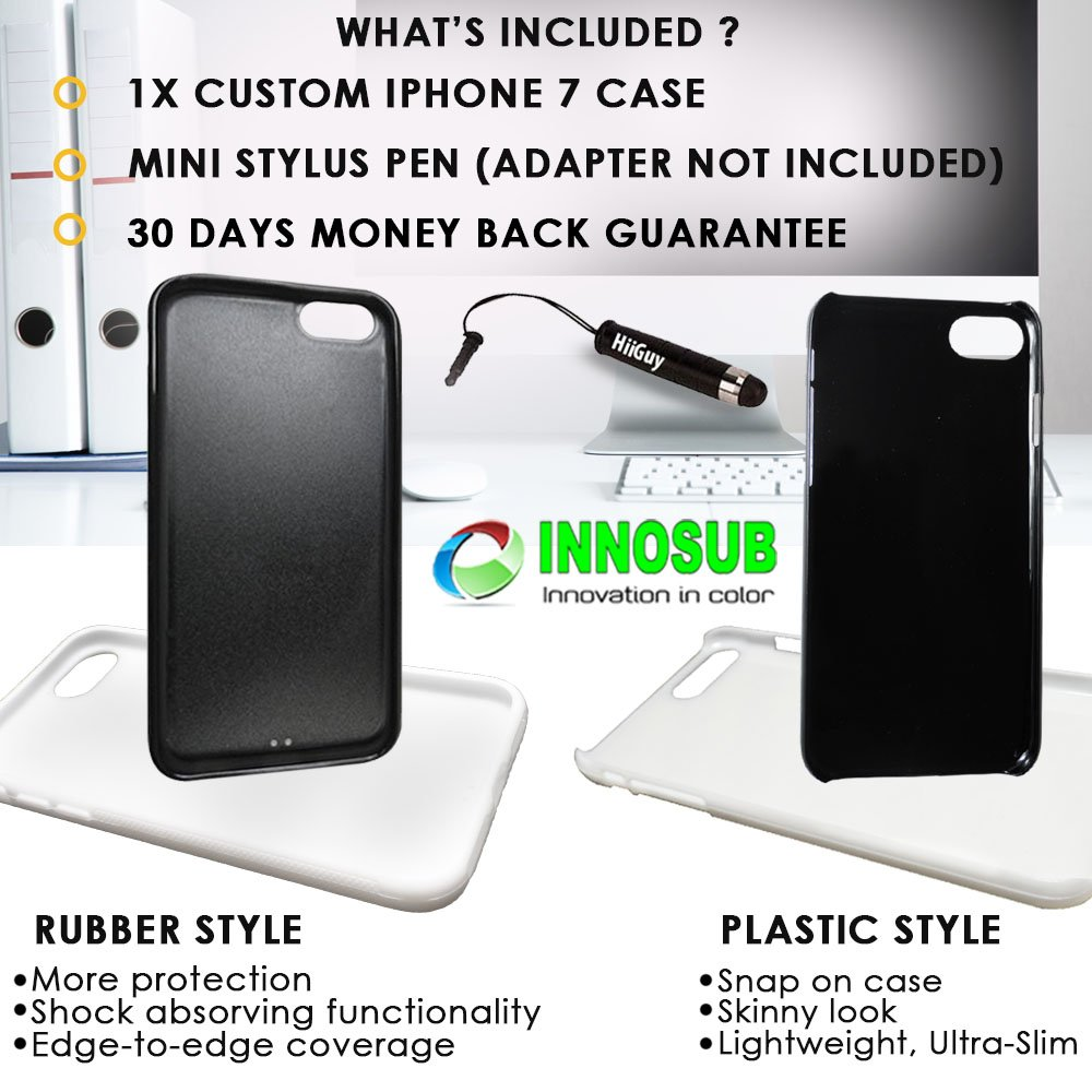 Lightweight Custom iPhone 7 Case Ultra-Slim Includes Stylus Pen by Innosub Cow Print Edge-to-Edge Rubber Black Cover with Shock and Scratch Protection