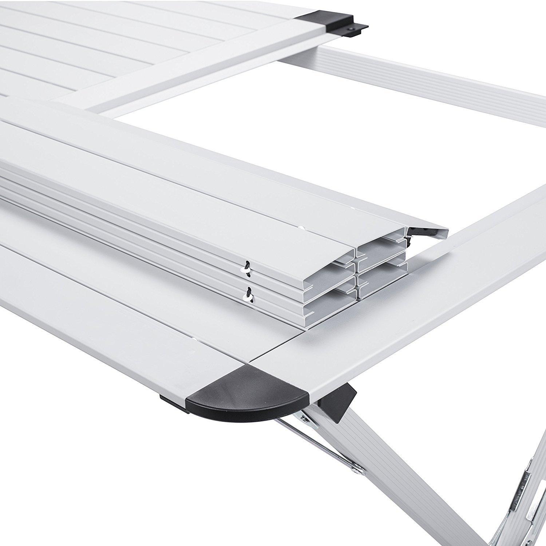 Argento/_MOD Bricok Tavolo in Alluminio TA-0802 col