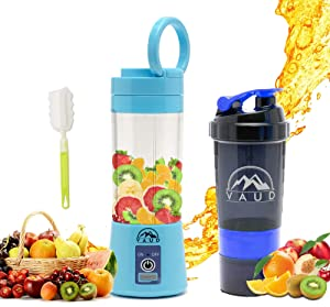 VAUD Personal Portable Mini Mixer Blender for Shakes,Smoothies,Juice is USB Rechargeable,with a Free Protein Shaker Bottle, (Blue)