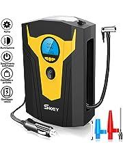 SKEY Compressore Portatile per Auto, 12V Pompa Elettrica con Display LCD Digitale,Preselezione e Spegnimento Automatico,Adattatori di Valvola per Pneumatici di Auto, Moto, Biciclette