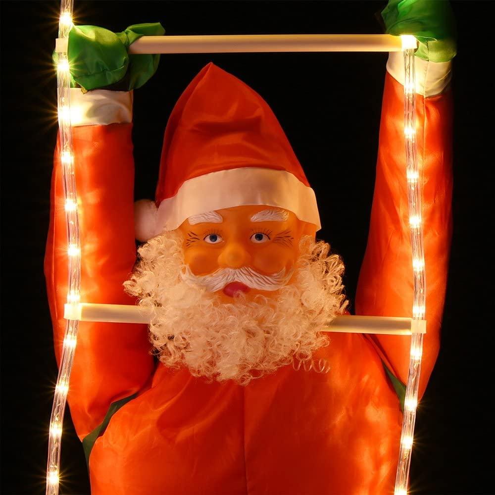 Deuba Pap/á noel en una escalera de 48 luces LEDs interior exterior iluminaci/ón de navidad adorno decoraci/ón duradera