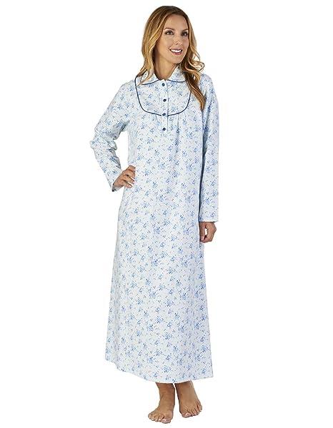 Slenderella ND2212 Women s Luxury Flannel Blue Loungewear Nightdress ... a6ead721d