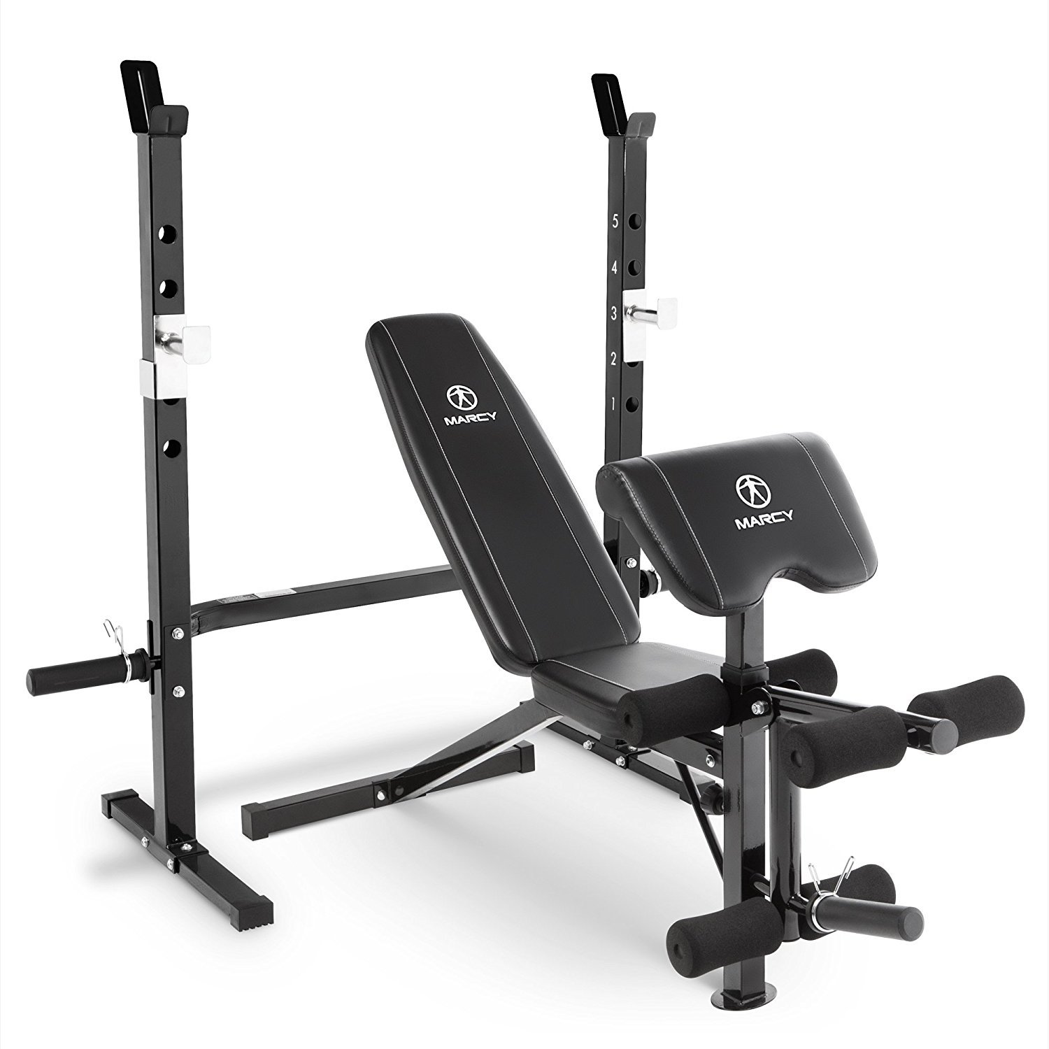 Marcy 2-Pc Olympic Weight Bench with bar Catches, Leg Developer & Preacher Curl Pad MWB-60205 by Marcy