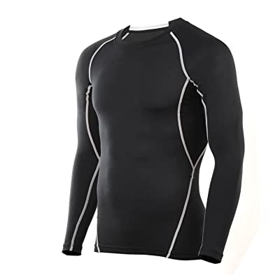 4ucycling Compression Tight Shirt Base Layer Breathable Sleeves Fit Slim Sports Design for Work Out Blue/Black
