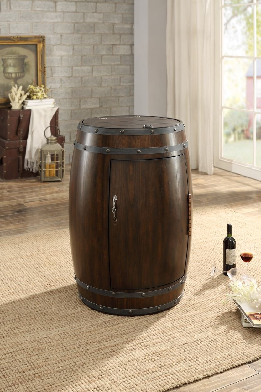 Capella Industrial Barrel Wine Refrigerator in Dark Cherry
