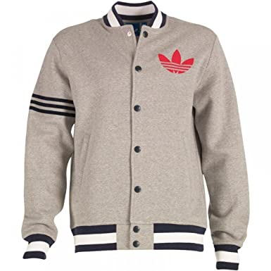 2d5203394f91 adidas Originals Mens Superstar Remix Fleece Varsity Jacket Med Grey at  Amazon Men s Clothing store