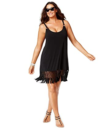 4238a7052c Amazon.com: Dotti Women's Plus Size Macrame Fringe Cover-Up Swimsuit ...