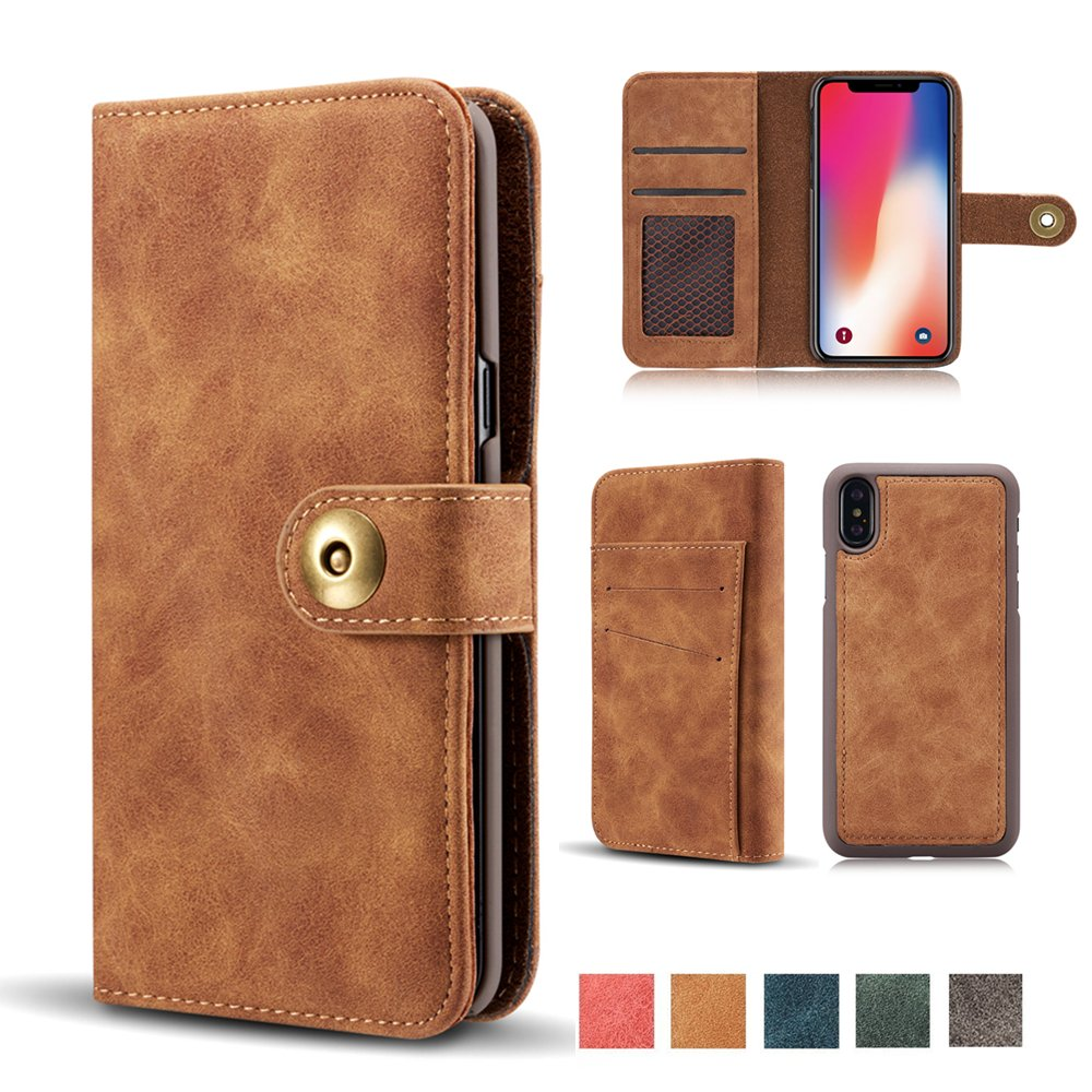 """iPhone X Case, Vintage 2 in 1 [Magnetic Detachable] Flip Wallet PU Leather Slim Case Retro [4 Card Holder] Slot Wallet Removable Protective Folio Book Cover for iPhone X/iPhone 10 5.8"""" 2017 - Brown"""