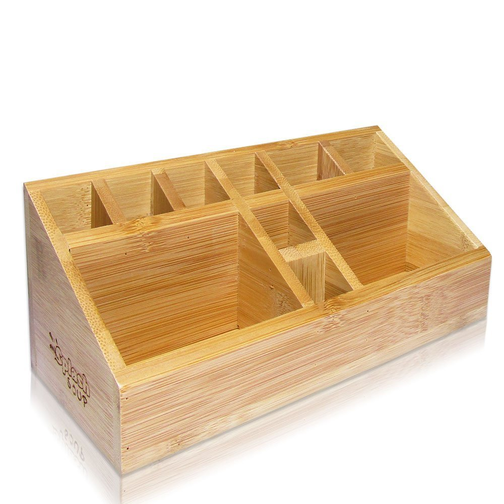 Small Multifunctional Bamboo Organizer | Desk Caddy | Home Office Accessory Tray | School Art Supply Holder | Pen Pencil Brush Compartment | Kitchen Bathroom Countertop Storage by SplashSoup JL-S001