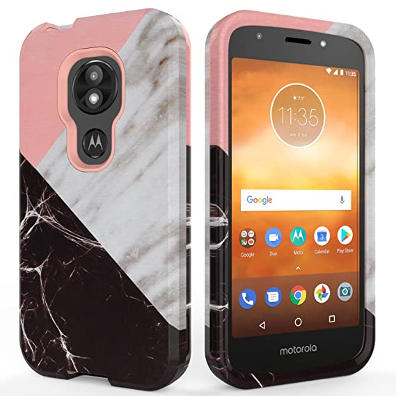 sale retailer cb591 acd7b Moto E5 Play Case,Moto E5 Cruise Case,SLMY(TM) Fashion Marble Armor  Shockproof Heavy Duty Shock Resistant Hybrid Soft Silicone Hard PC Cover  Case for ...