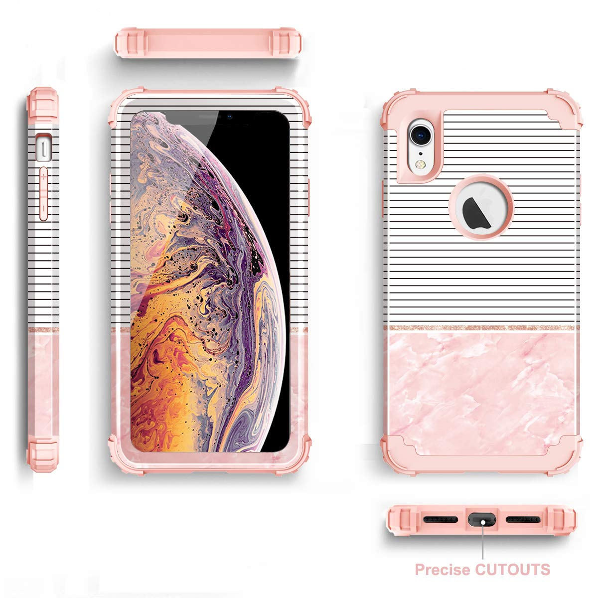 Fingic iPhone XR Case 6.1 inch Luxury Glitter Stripes Design Case 3 in 1 Heavy Duty Hybrid Shock Absorbing /& Scratch Resistant Rubber Bumper Full-Body Protective Cover Case for iPhone XR 2018 Pink