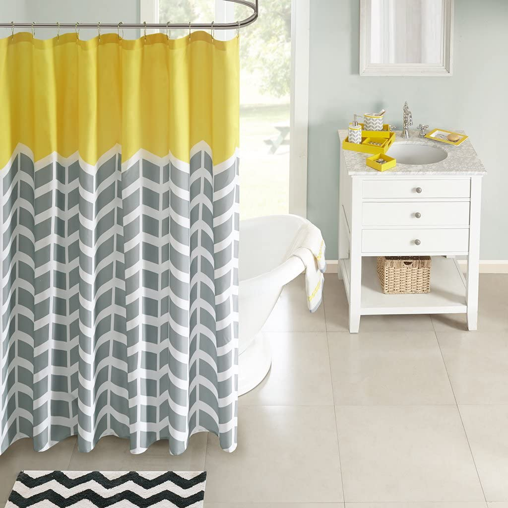Chevron Print Luxury 5pc Ceramic Grey Teal /& White Bathroom Set