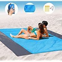 Beach Blanket Sand Camping Mat Waterproof,Outdoor Travel Accessories & Pocket Zippered Portable Family Picnic Mat for Travel, Camping, Hiking and Music Festivals (108 x 85.19 in)
