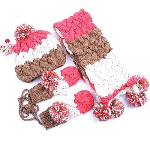 Mujer Niña Sombrero Bufanda Guantes Tres Conjuntos Un Conjunto Cuello Invierno Punto Grueso Cálido,Pink-OneSize
